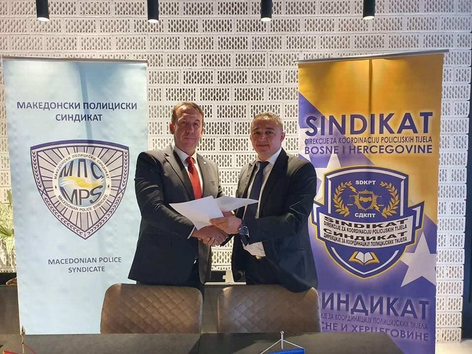 Potpisan Memorandum o suradnji Sindikata Direkcije za koordinaciju policijskih tijela Bosne i Hercegovine i Makedonskog policijskog sindikata.